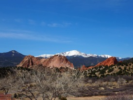 White peak, red rock