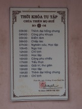 The monks schedule for the day