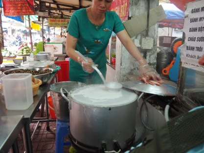Making rice paper for salad rolls