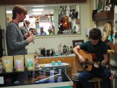 "treated to some ""kitchen"" music at an Irish shop Brigh"
