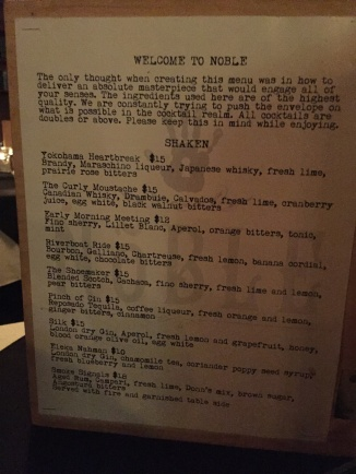 Drink menu at Noble