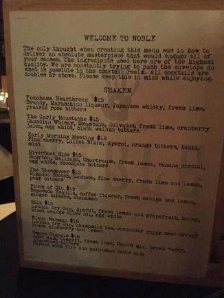 Drink menu at Noble